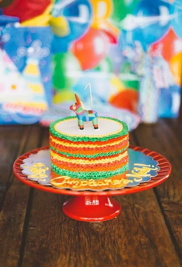 Mexican party cake with pinata on top Photo 100 Layer Cakelet