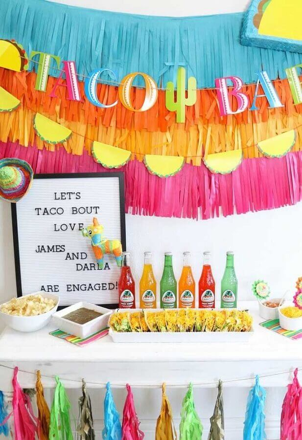 panel with colorful ribbons for Mexican party Photo Kara's Party Ideas