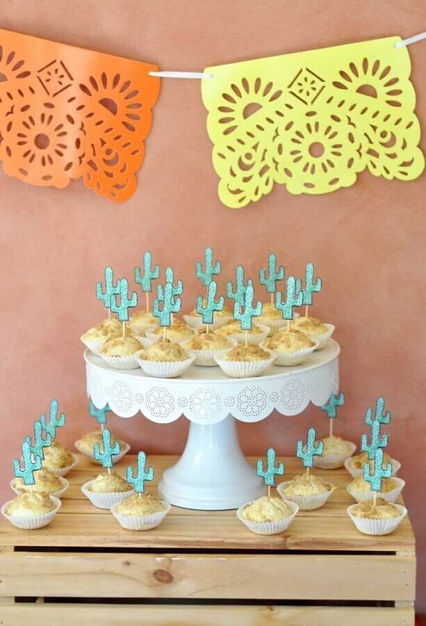 salty decorated with paper cactus for Mexican party Photo Kara's Party Ideas