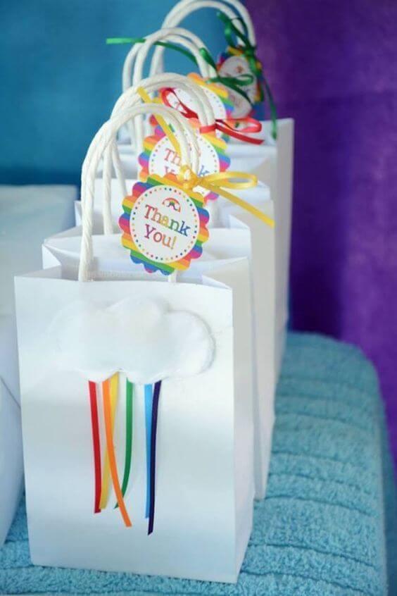 Surprise bag for children's rainbow party