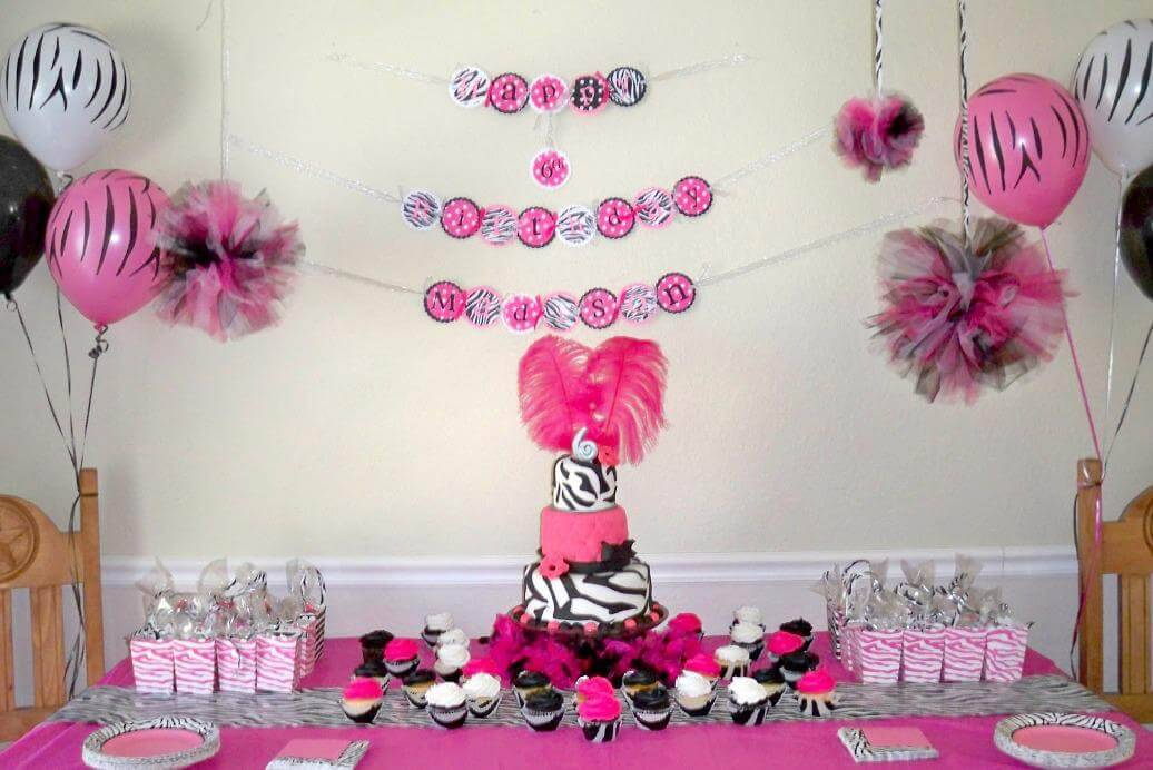 children's party decoration with little flags on the wall