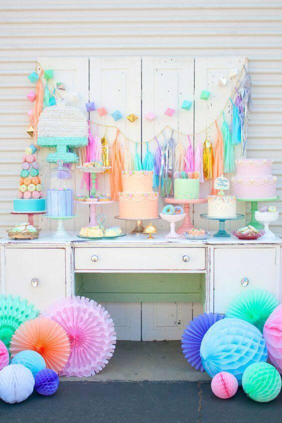 children's party decoration with antique pastel dresser