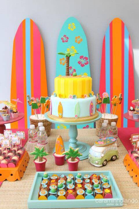 kids party decoration with surfboards