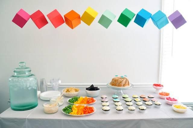 colorful cubes children's party decoration