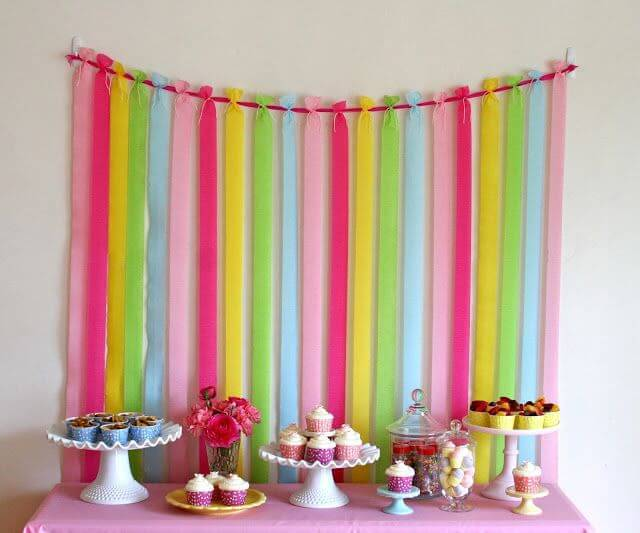 children's party decoration crepom paper ribbon