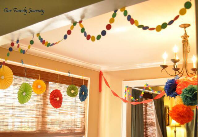 children's party decoration with papers at home