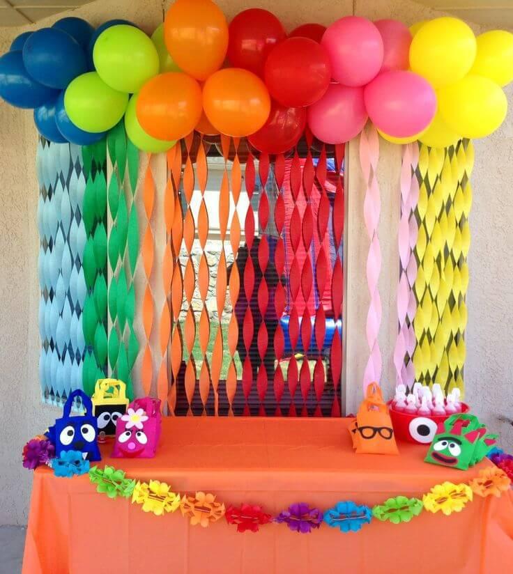 children's party decoration colored crepe paper