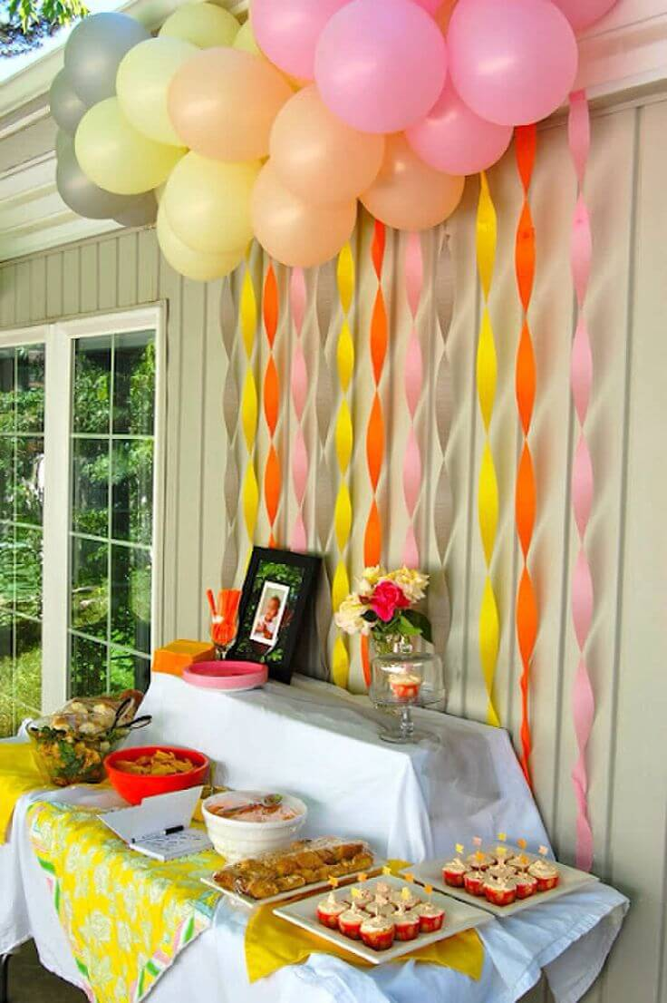 children's party decoration crepe paper and trays