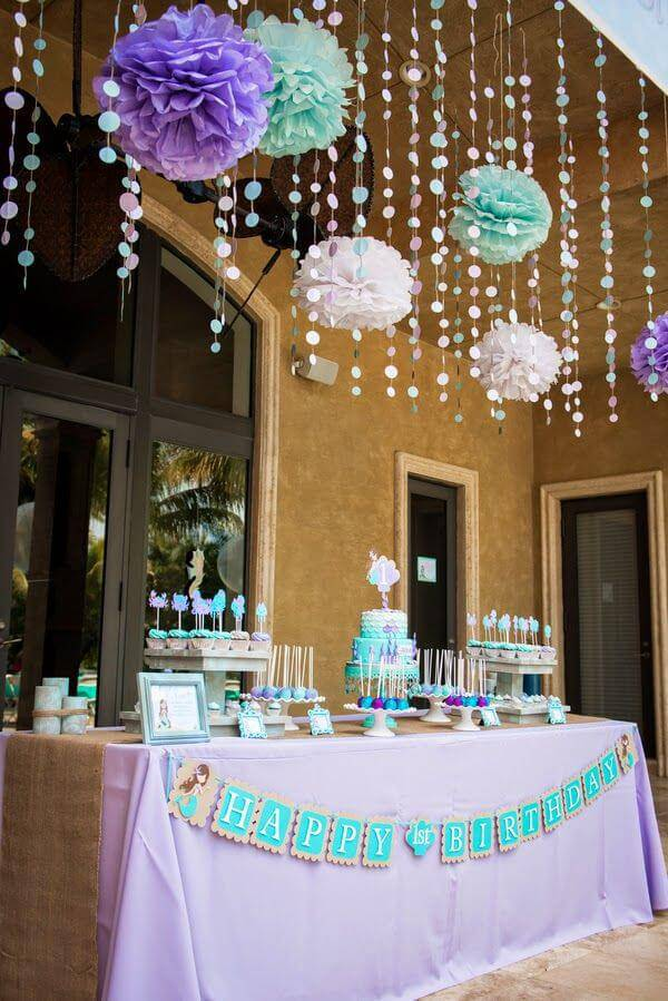 turquoise and purple children's party decoration