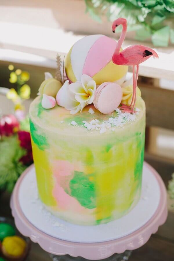 tropical colored cake with flamingo on top Foto Pinterest