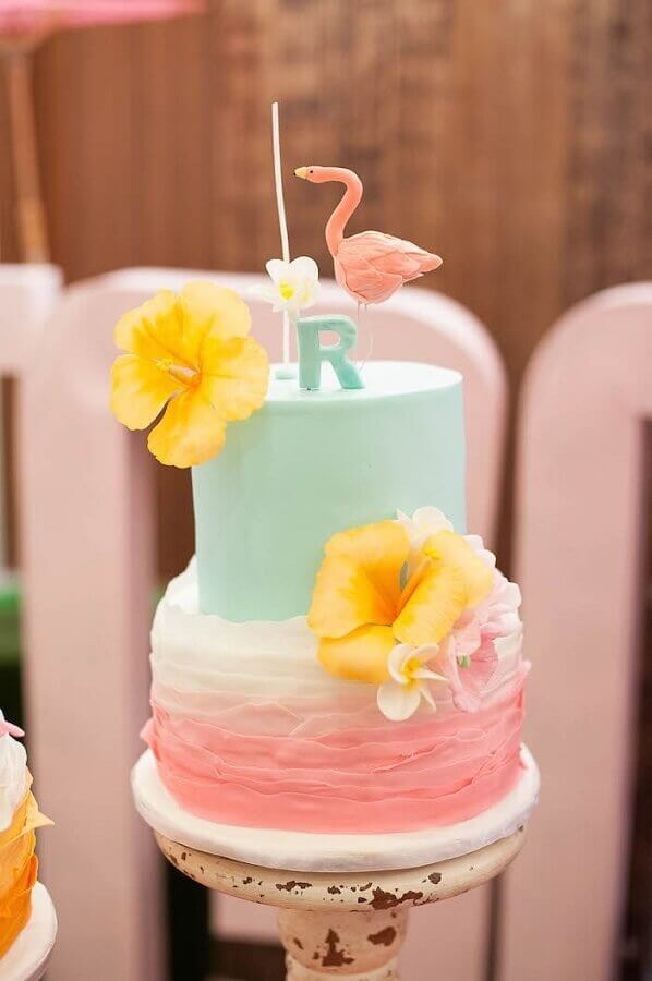 tropical two-story cake with flamingo on top Foto Pinterest