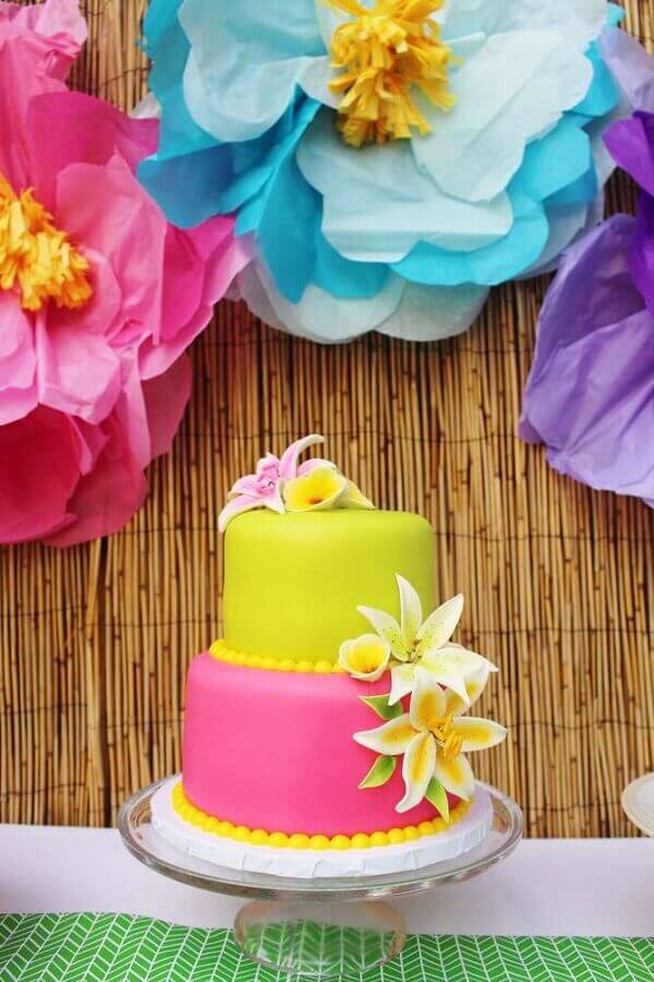 tropical pink and yellow cake decorated with flowers Photo 321achei