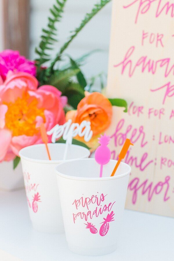 decorated cups for tropical party Photo Meghann Miniello