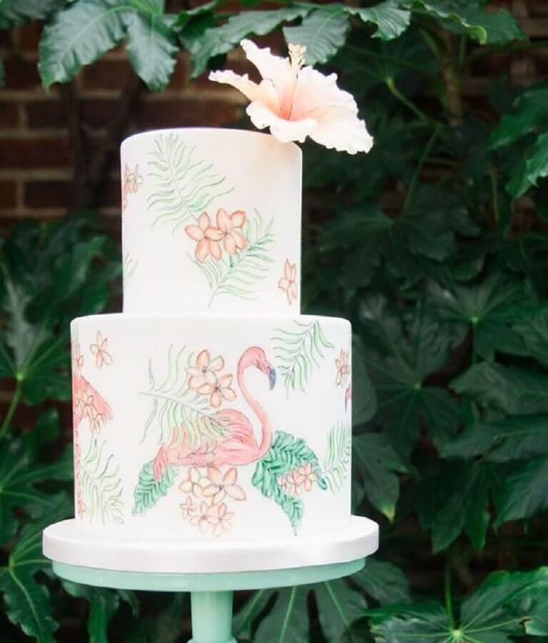 delicate tropical flamingo party cake Foto Weddingomania