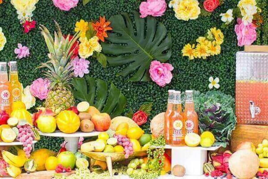 decorated fruit table for tropical party Photo 4K Pictures