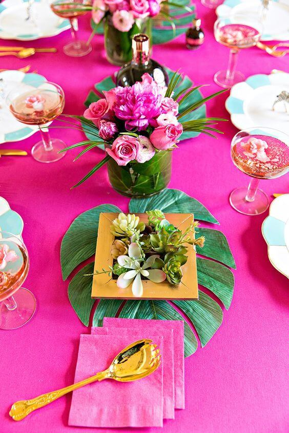 Table set for tropical party