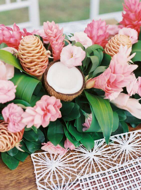Tropical party with coconut and tropical flowers