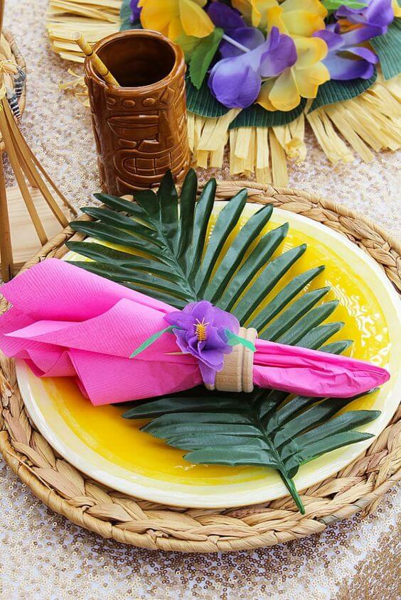 Tropical party decoration at home