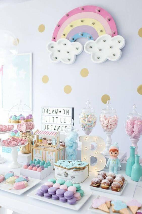 children's party decoration pastel shades