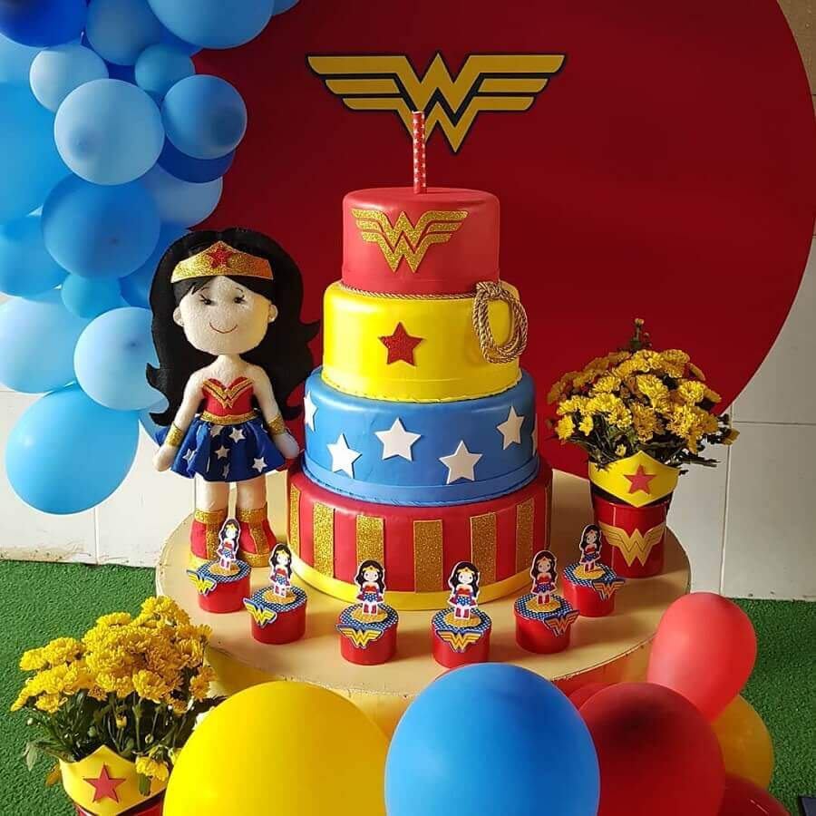 4 floor colorful decorated cake for children's wonder woman party Photo Little Party
