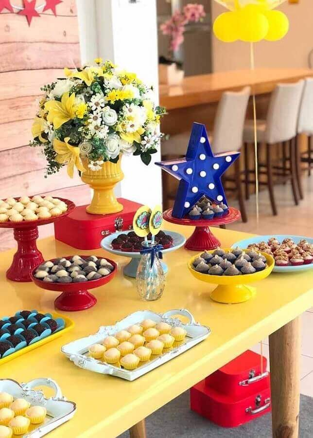 candy table decorated for party woman wonder Photo Share Cake