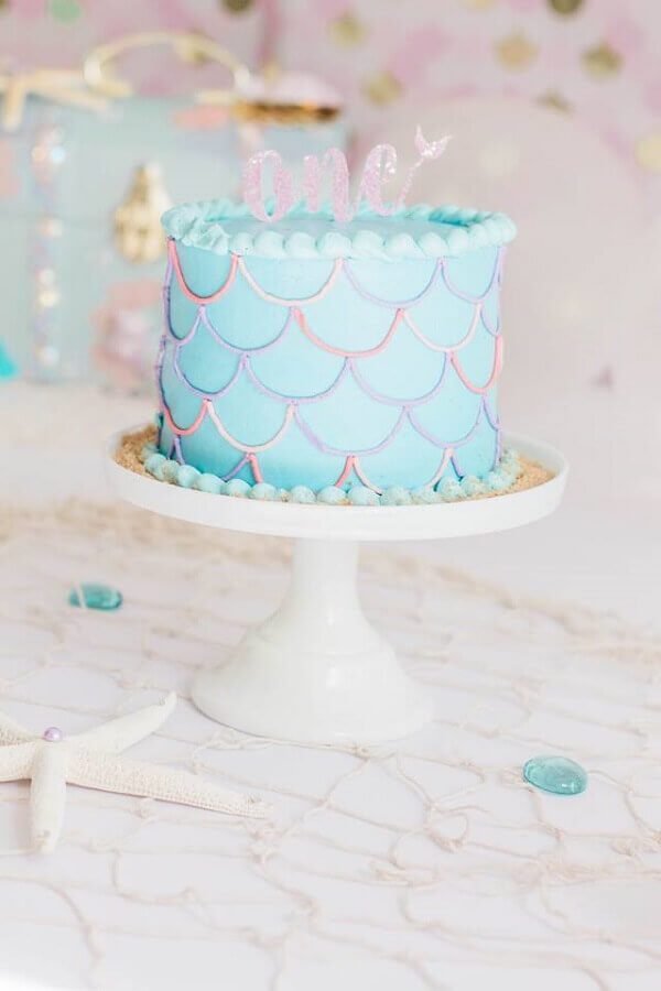 simple mermaid party cake Foto Pinterest