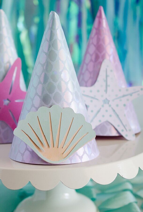 Personalized little hat for mermaid children's party Photo My Little Party