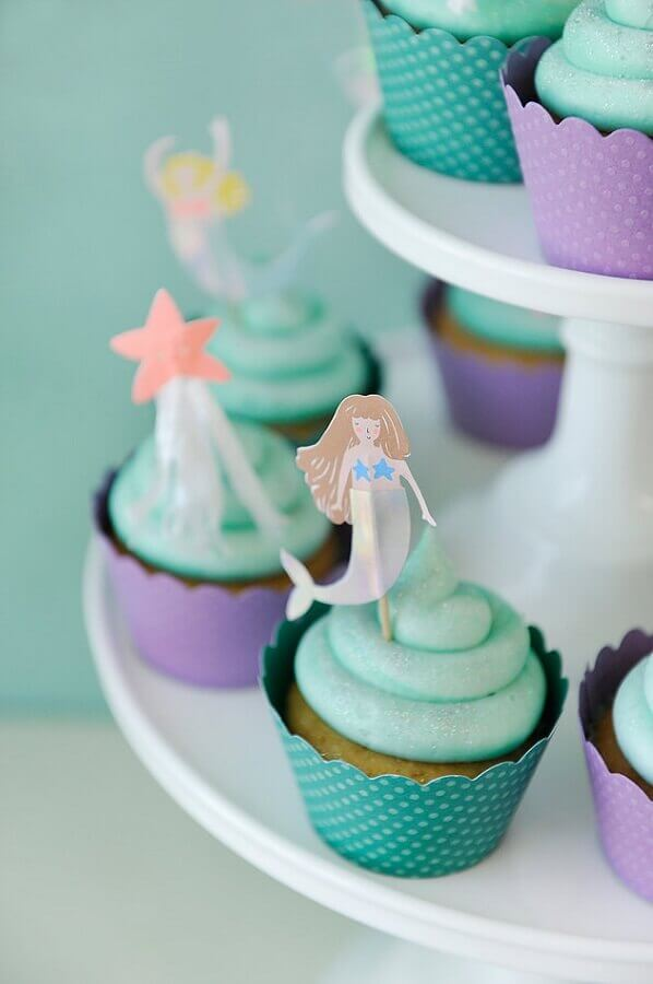 decorated cupcakes for mermaid party Photo Happy Wishe