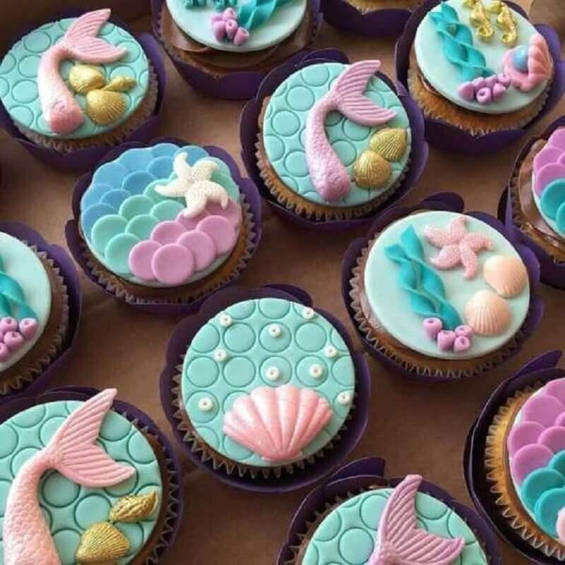 custom cupcakes for mermaid party Photo Cupcake Art