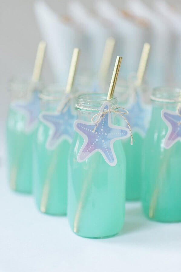 decorated juice bottles for mermaid party Photo Etsy