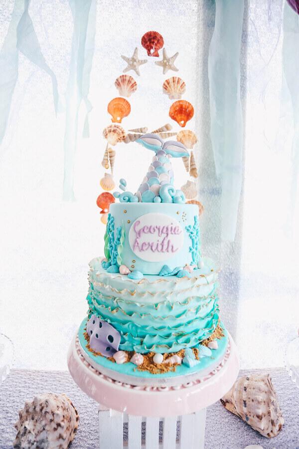 beautiful decorated cake for mermaid party Photo Cake Creativity