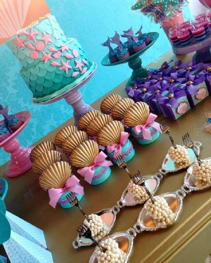 Personalized candy table for mermaid party Photo Enter the Party