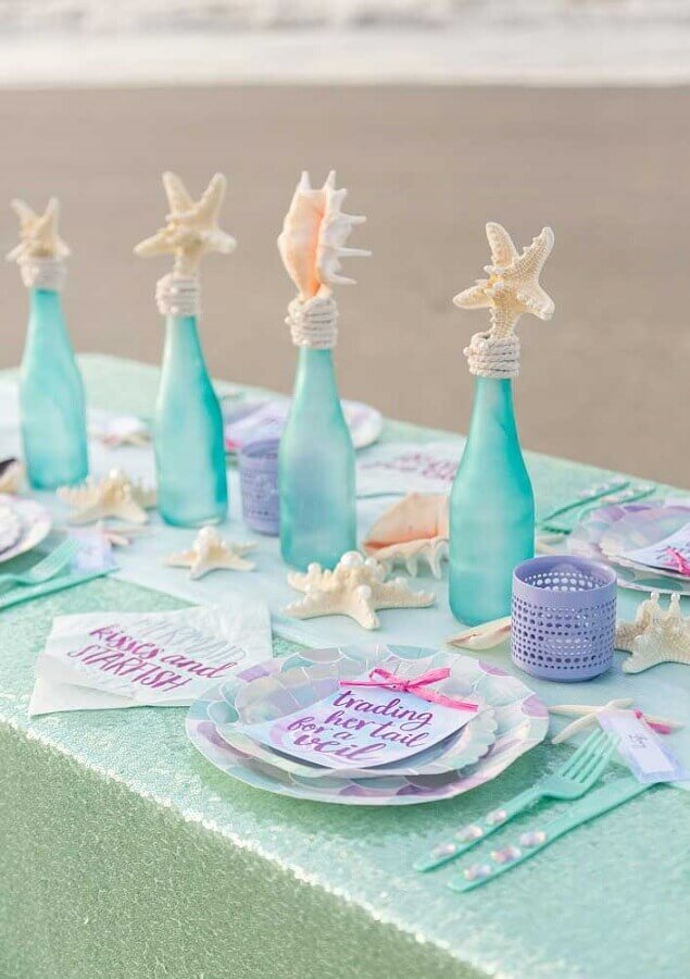 table for guests for simple mermaid party Foto Ideias Decor