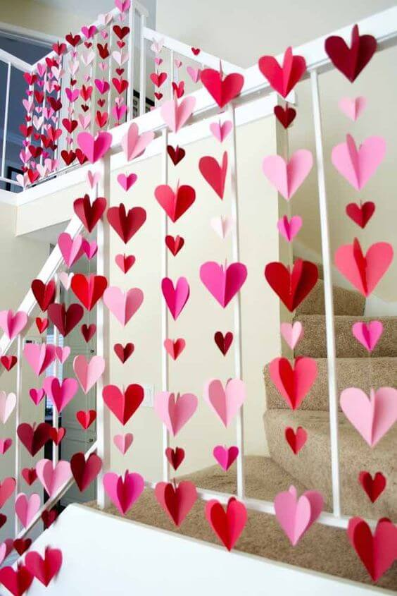 House decorated with ideas hearts for Valentine's Day