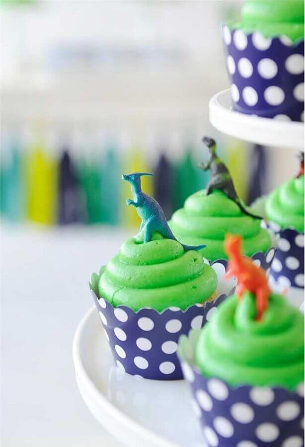 cupcakes decorated with mini dinosaur party dolls Photo Project Nursery