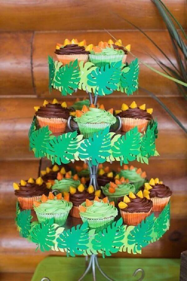 decorated cupcake models for dinosaur party theme Photo Kara's Party Ideas