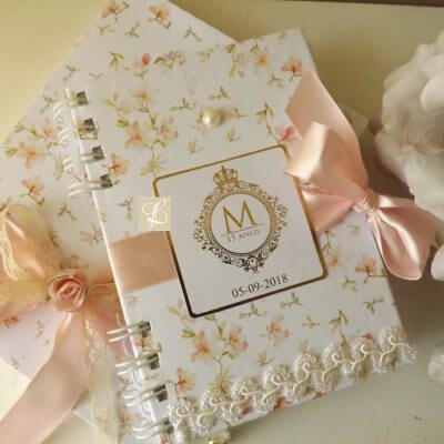 Personalised notebook as a 15 year anniversary souvenir