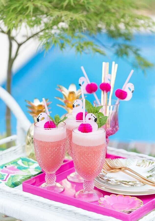 decorated drinks for tropical flamingo party Photo My Party