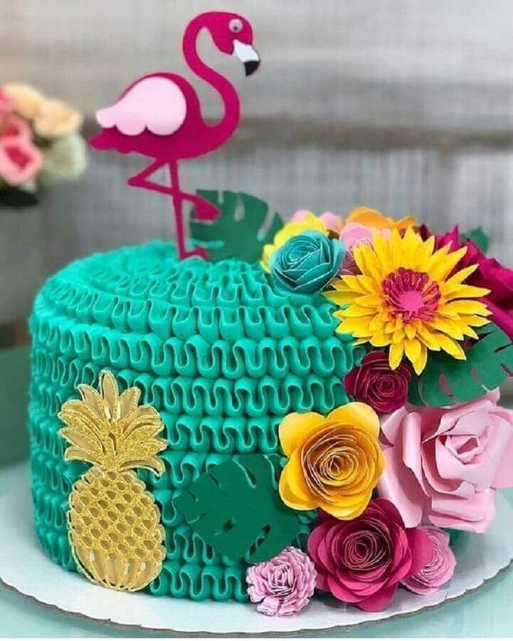 decorated cake for flamingo and pineapple party Photo Thousand Tips
