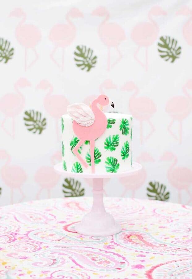 flamingo theme party cake with foliage details Photo Pinterest