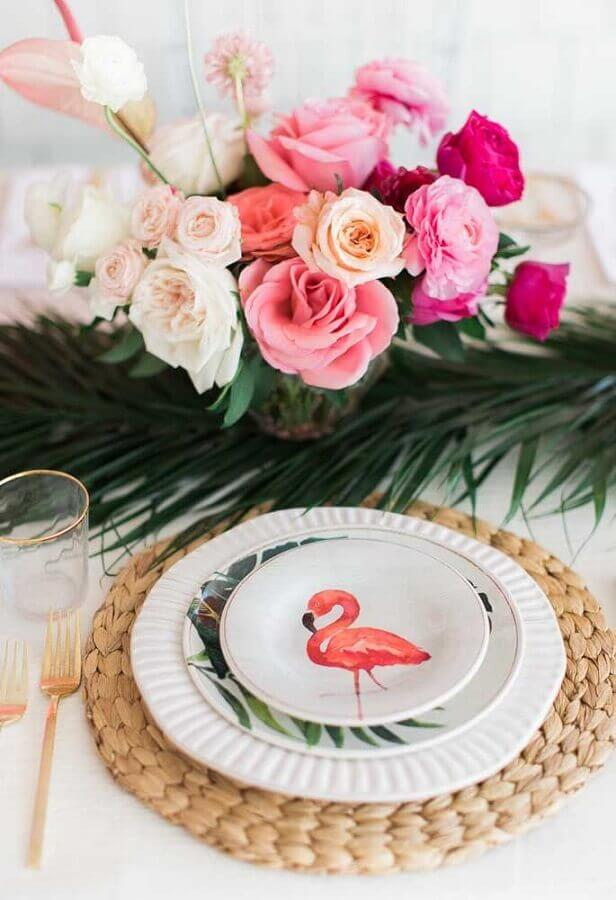 flamingo party with decorated plate Foto Webcomunica