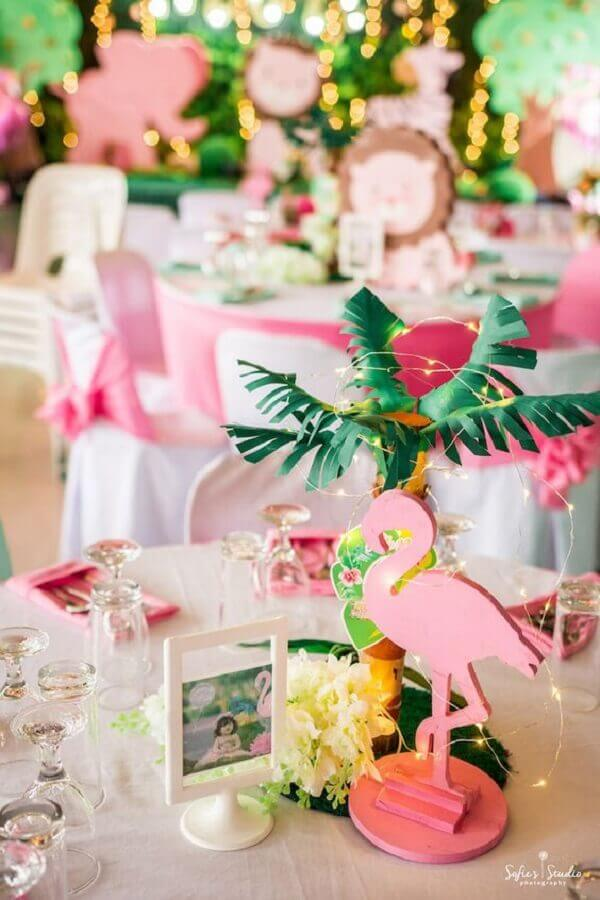 children's flamingo party decorated with fairy light Photo Kara's Party Ideas