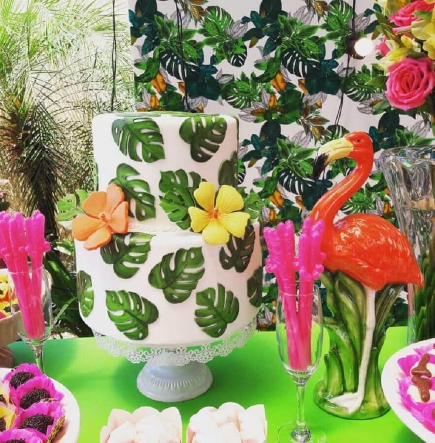 cake model for tropical flamingo party Photo Giovani Arguelho Events