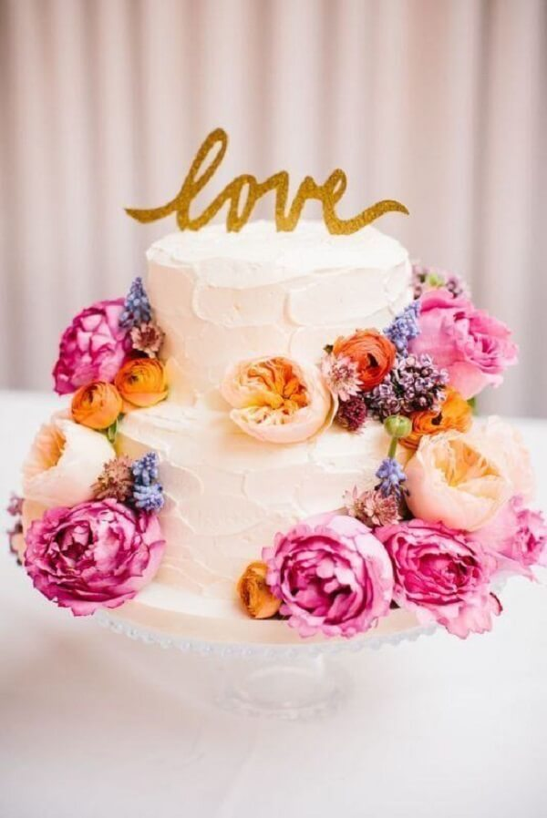 Two-story cake with colorful flowers