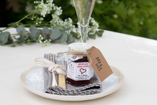 Wedding table souvenir with jam jar