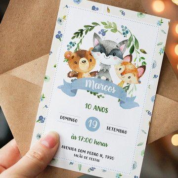 Male children's birthday invitation in the forest