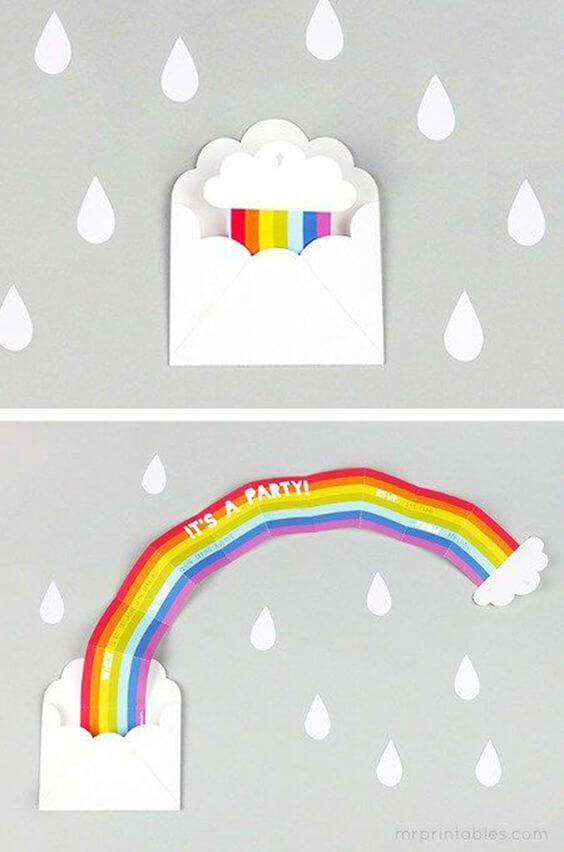 Children's and creative rainbow birthday invitation