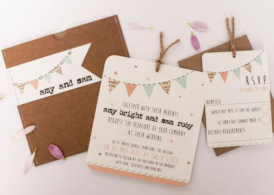 Children's birthday invitation with flags