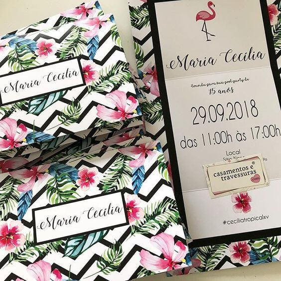 Floral invitation for tropical birthday