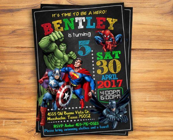 Male heroes' birthday invitation